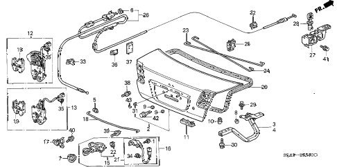 2003 civic EX(SIDE SRS) 4 DOOR 5MT TRUNK LID diagram