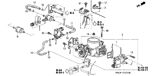 2003 civic EX 4 DOOR 4AT THROTTLE BODY diagram