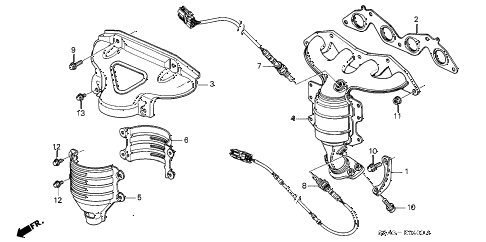 2001 civic DX(SIDE SRS) 4 DOOR 4AT EXHAUST MANIFOLD (SOHC) diagram