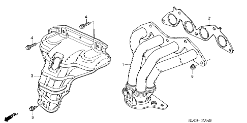 2001 civic EX(SIDE SRS) 4 DOOR 5MT EXHAUST MANIFOLD (VTEC) diagram