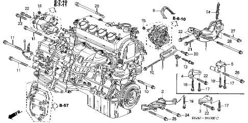 2001 civic DX(SIDE SRS) 4 DOOR 5MT ENGINE MOUNTING BRACKET diagram