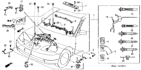 2003 civic DX(A/C) 4 DOOR 5MT ENGINE WIRE HARNESS diagram