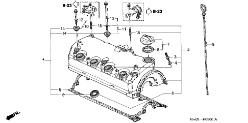 2002 civic DX 4 DOOR 5MT CYLINDER HEAD COVER diagram