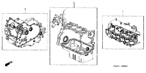 2003 civic DX(A/C) 4 DOOR 5MT GASKET KIT diagram