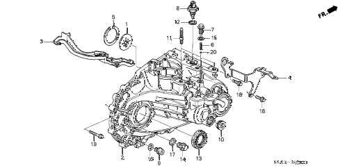 2002 civic DX(SIDE SRS) 4 DOOR 5MT MT TRANSMISSION HOUSING diagram