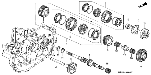 2003 civic EX 4 DOOR 5MT MT MAINSHAFT diagram
