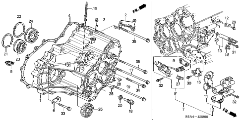 S5A4A0200 honda online store 2001 civic at transmission housing parts
