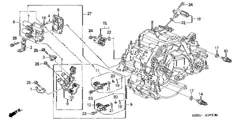 2001 accord LX(SIDE SRS) 2 DOOR 4AT AT SENSOR - SOLENOID diagram