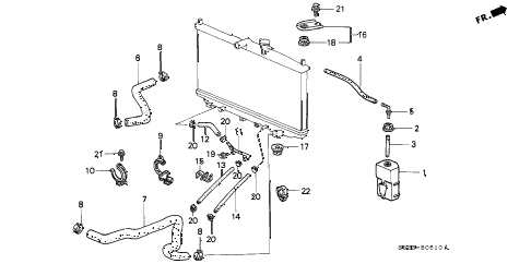 1998 accord EX(UL) 2 DOOR 4AT RADIATOR HOSE diagram