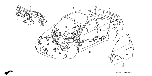 2001 accord EX(LEATHER) 2 DOOR 4AT WIRE HARNESS diagram
