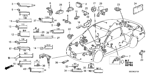 1998 accord EX 2 DOOR 5MT HARNESS BAND - BRACKET diagram