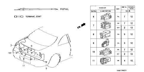 2002 accord EX(LEATHER) 2 DOOR 5MT ELECTRICAL CONNECTOR (RR.) diagram