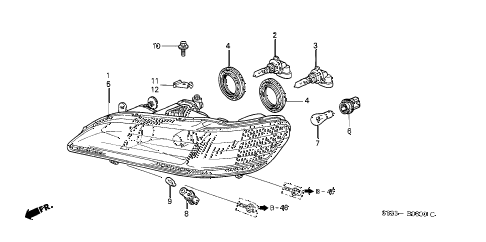2000 accord EX(UL) 2 DOOR 5MT HEADLIGHT diagram