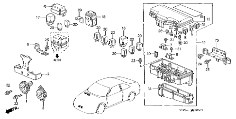2001 accord EX(UL LEATHER) 2 DOOR 5MT CONTROL UNIT (ENGINE ROOM) diagram