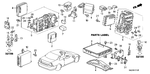 2002 accord EX(LEATHER) 2 DOOR 4AT CONTROL UNIT (CABIN) diagram