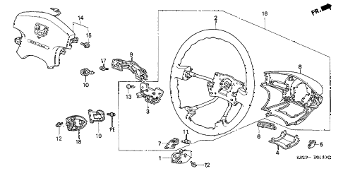 2002 accord LX(UL SIDE SRS) 2 DOOR 4AT STEERING WHEEL (SRS) diagram