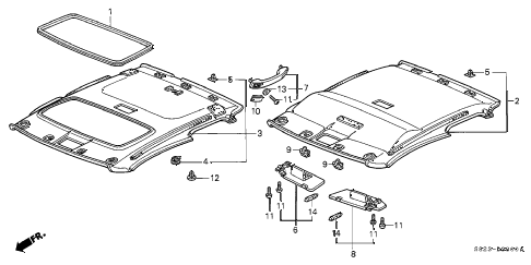 2001 accord LX(UL) 2 DOOR 4AT ROOF LINING diagram