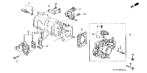 1999 accord EX(LEATHER) 2 DOOR 4AT THROTTLE BODY diagram