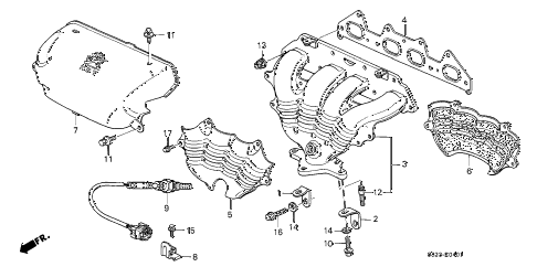 2000 accord EX(UL) 2 DOOR 5MT EXHAUST MANIFOLD (L4) (LEV) diagram