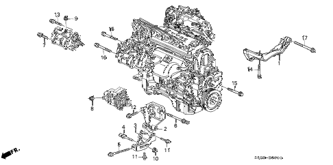 2002 accord LX(UL SIDE SRS) 2 DOOR 4AT ALTERNATOR BRACKET diagram