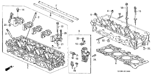 2000 accord EX(UL LEATHER) 2 DOOR 5MT CYLINDER HEAD diagram