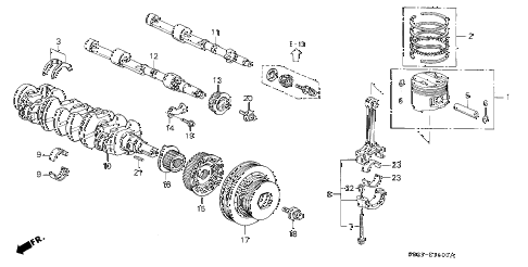 1998 accord EX 2 DOOR 5MT CRANKSHAFT - PISTON diagram