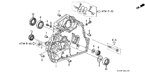 2001 accord LX(SIDE SRS) 2 DOOR 4AT AT TORQUE CONVERTER HOUSING diagram