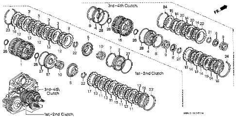 2001 accord EX(UL) 2 DOOR 4AT AT CLUTCH diagram