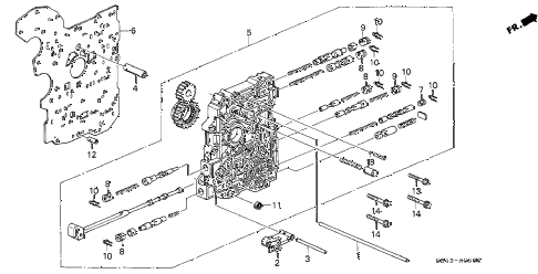2001 accord LX(SIDE SRS) 2 DOOR 4AT AT MAIN VALVE BODY diagram