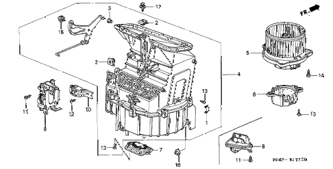 2001 accord EX(UL LEATHER) 2 DOOR 5MT HEATER BLOWER diagram