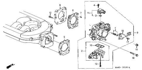 2000 accord LX(V6) 2 DOOR 4AT THROTTLE BODY (V6) diagram
