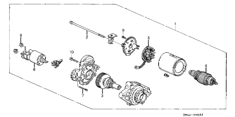 1998 accord EX 2 DOOR 4AT STARTER MOTOR (MITSUBA) (L4) diagram