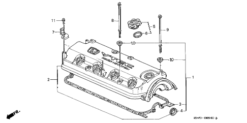 1998 accord LX 2 DOOR 5MT CYLINDER HEAD COVER diagram