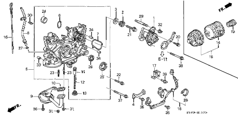 1998 accord LX 2 DOOR 4AT OIL PUMP - OIL STRAINER (L4) diagram