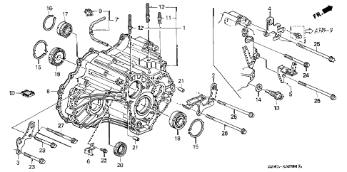 2001 accord LX(ABS SIDE SRS) 4 DOOR 4AT AT TRANSMISSION HOUSING diagram