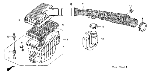 1998 accord EXL(LEATHER) 4 DOOR 4AT AIR CLEANER diagram