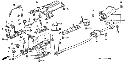 2001 accord EXL-UL(LEATHER) 4 DOOR 5MT EXHAUST PIPE diagram