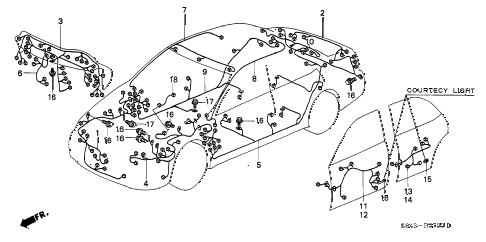 2000 accord LX(UL) 4 DOOR 4AT WIRE HARNESS diagram