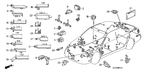 2000 accord LX 4 DOOR 4AT HARNESS BAND - BRACKET diagram