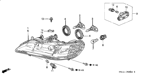 1998 accord EX-UL(LEATHER) 4 DOOR 4AT HEADLIGHT diagram