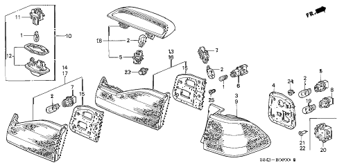 1999 accord EXL(LEATHER) 4 DOOR 5MT TAILLIGHT diagram