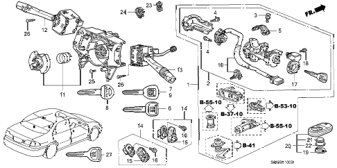 2000 accord LX(UL) 4 DOOR 5MT COMBINATION SWITCH diagram