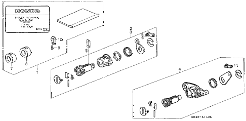1998 accord EX-UL 4 DOOR 4AT KEY CYLINDER KIT diagram