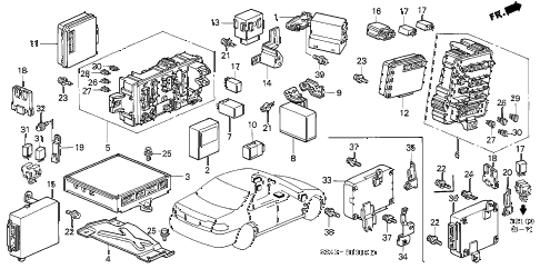 2000 accord LX 4 DOOR 4AT CONTROL UNIT (CABIN) diagram