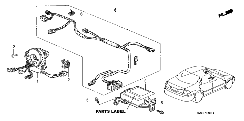2001 accord LX 4 DOOR 5MT SRS UNIT diagram