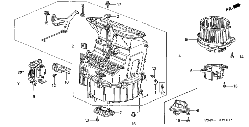 2001 accord EX 4 DOOR 5MT HEATER BLOWER diagram