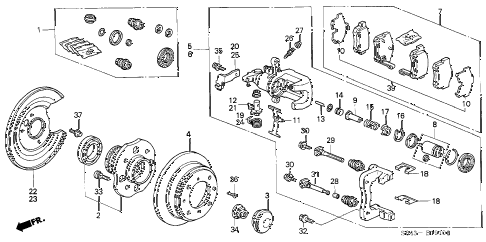 1998 accord EX 4 DOOR 5MT REAR BRAKE (DISK) (1) diagram