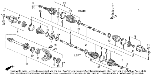 1998 accord LX(ABS) 4 DOOR 4AT DRIVESHAFT (1) diagram