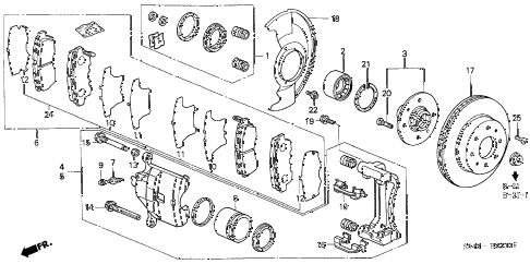 1998 accord EX-UL 4 DOOR 4AT FRONT BRAKE (1) diagram