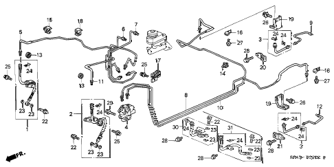 1998 accord DX 4 DOOR 4AT BRAKE LINES diagram